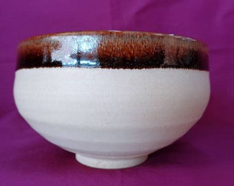 VJ244 : Japanese Kyoto Ware Chawan PotteryTea Bowl, Matcha Green Tea, vintage, hand made in Japan