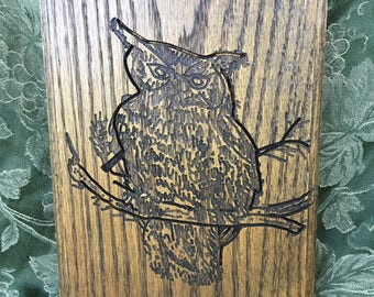 Etched/Engraved Wood Art Barn Owl,Owl Wall Plaque