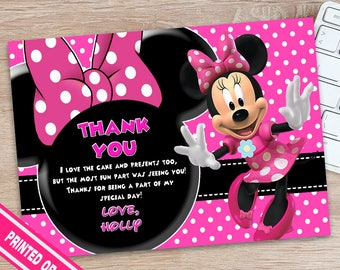 Minnie Mouse Thank You Card - Minnie Muse Thank You - Minnie Mouse Birthday - Minnie Mouse Party - Minnie MOuse Printables