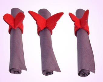 Felt napkin rings with engraving