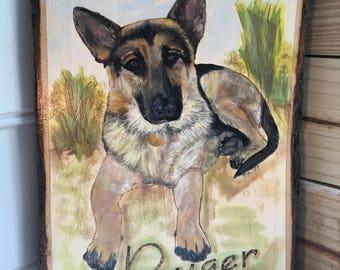 German Shepherd, Wood Bark Edge Pet Portrait, Custom Pet Portrait, Pet Memorial Painting, German Shepherd Painting