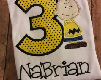 Charlie Brown Embroidered Birthday Shirt **Fast Shipping**