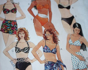 Very Versatile Two-Piece Bathing Suit and Sarong Pattern---McCalls 8234---Size 16 Bust 38  UNCUT