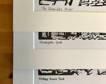 Complete Set of Signed Linocut Prints of York Shambles, Abbey Ruins & Stonegate by Maurice Ingham