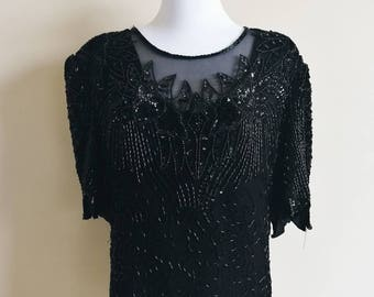 Black Laurence Kazar Sheer Silk Top