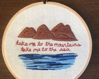 Wanderlust Embroidery - Mountains and Sea Embroidery - Hand-Stitched - Wall Hanging