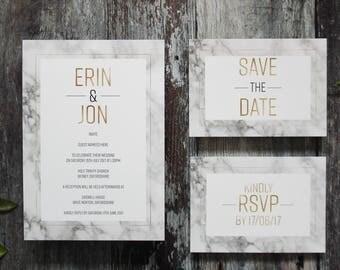 Marble wedding invitation, marble wedding stationery suite, marble and gold wedding invitation set - SAMPLE