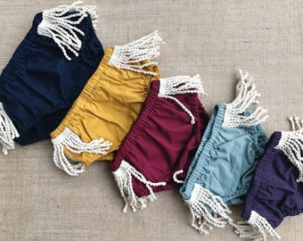 Fringe Bloomers - Boho Baby Bloomers - Bohemian Diaper Covers - Baby Diaper Cover