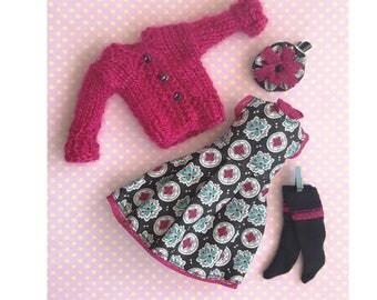 Pink Blythe outfit set Black Blythe dress doll pillip clothes set cardigan custom Blythe doll clothes ICY Handmade clothes Pullip clothes