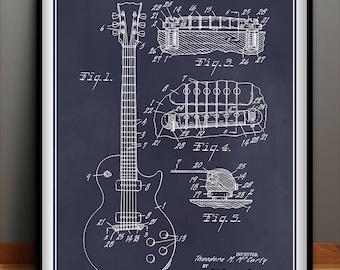 1955 Gibson Les Paul Guitar Patent Poster, Guitar Art, Guitar Player Gift, Electric Guitar, Gibson Les Paul Patent, Gibson Les Paul Decor