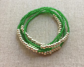 SALE- Seed Bead Stretch Layering Bracelet- Green
