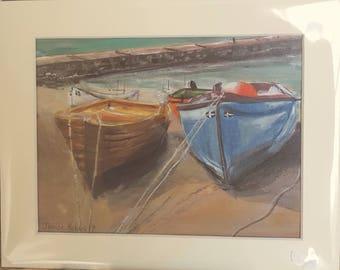 Boats at Sennen Cove Cornwall,  Acrylic painting