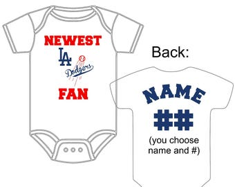 Dodgers baby etsy newest los angeles dodgers fan custom made personalized baseball gerber onesie jersey you choose name number negle Choice Image