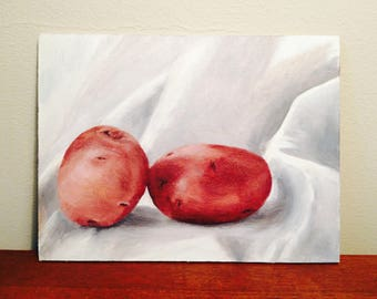 still life of two potatoes, oil painting of potatoes, small painting of potatoes, 2 potatoes