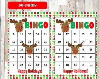 Printable 100 Christmas Bingo Cards, printable Christmas Bingo game, Christmas printable bingo cards, polka dots , instant download