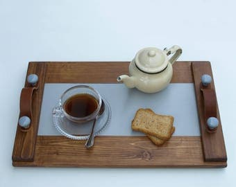 Wooden Tray, Serving Tray, Coffee Serving Tray, Leather Handles, Wooden Handles, Decor, Art, Handpainted, Handmade