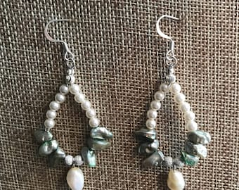 Green and White Pearl Dangle Earrings with silver accent beads