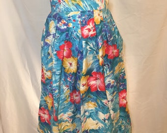 80s pleated flowered Worthington skirt vintage retro with pockets blue red yellow