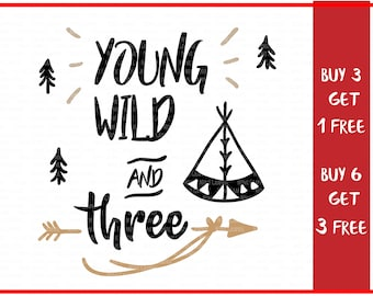 Young Wild and Three, Adventure svg, Cricut Silhouette cut files, third birthday svg, three years svg, birthday svg, birthday clipart,