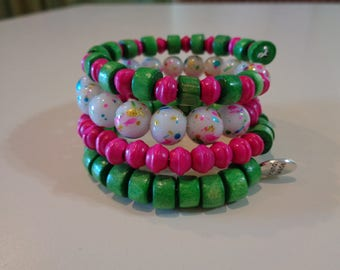Pink and Green Wood and Plastic Bead Memory Wire Bracelet