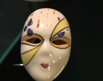 Hand painted ceramic Miniature Mardi Gras Mask 1