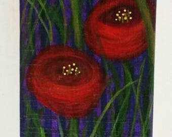 Refrigerator Art Red Flowers: magnet, acrylic, painting, colorful,