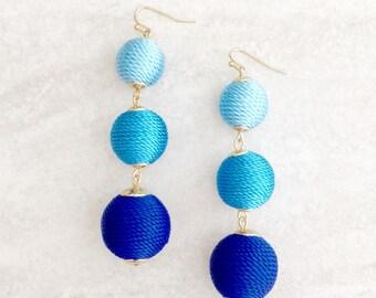 Bon Bon Earrings, Ball Thread Wrapped Earrings, Les Bonbons, Blue Ombre Three Ball Drop Earrings, Bonbon Earrings, Dangle Earrings
