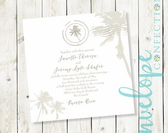 Square Palm Tree Beach Destination Wedding Invitation