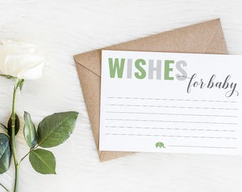 Green Elephant Wishes for Baby Cards, Printable Hope and Wishes for New Baby Cards