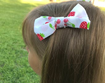Summer Bow, Cherries and Strawberries, summer barrette, cherries bow, strawberries bow, girls barrette