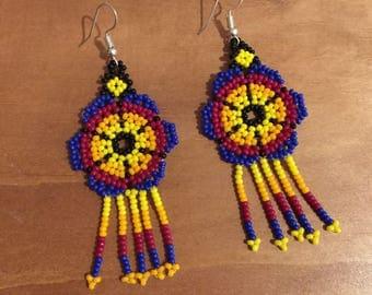 Handmade earrings. Mexican chaquira earrings.