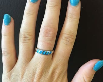 Blue Fire Opal Inlay Ring