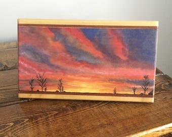 Sunset Watercolor Woodart Pyrography Wood Burned Desk Art