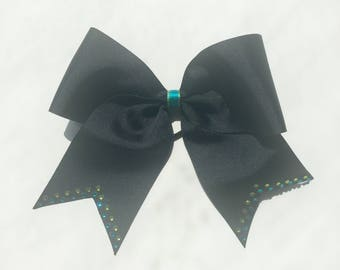 Black, Teal, Lime Green Cheer Bow