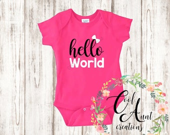 Baby Clothes / Hello World Baby Bodysuit / Baby Boy Clothes / Baby Girl Clothes / Short Sleeve / Newborn - 24 months / Baby Shower Gift