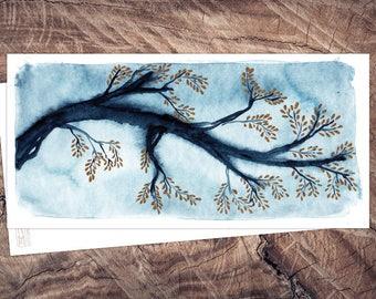 Golden Leaves-postcard illustration din long