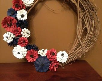 Hand Crafted - Hand Painted Red, White & Blue Flower Pine Cone Wreath