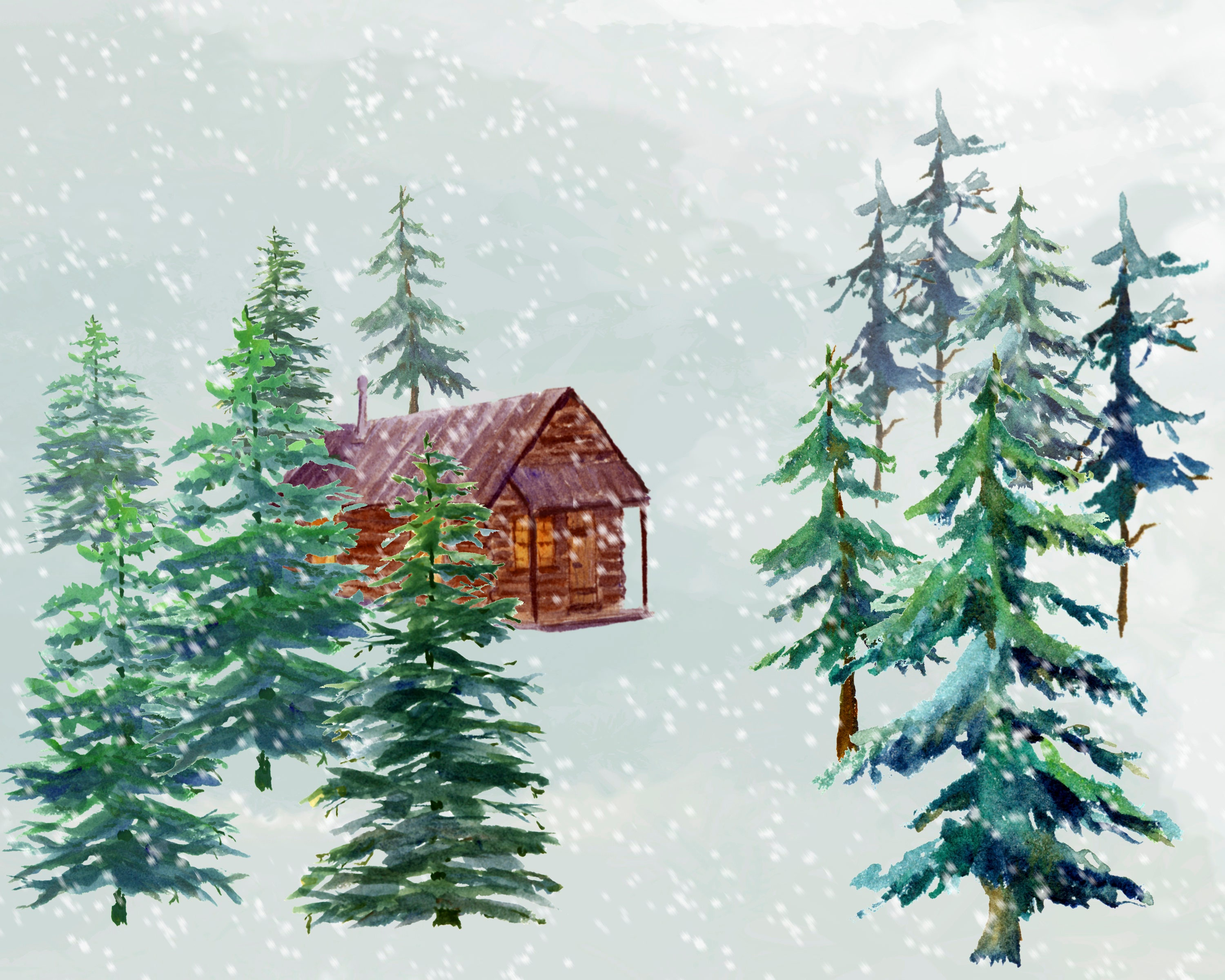 winter woods watercolor clip pine trees snow log cabin watercolor background winter woods watercolor clip pine trees snow log cabin watercolor background