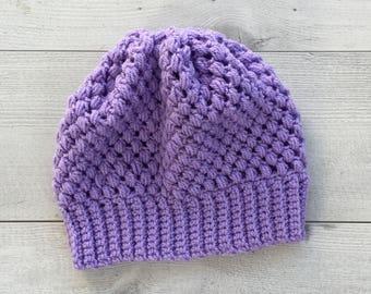 Ladies Lilac Slouch Beanie