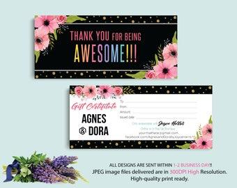 Custom Gift Card, Agnes Dora Gift Certificate, Gift Certificate Agnes and Dora, Digital Agnes and Dora, Printable File AG07
