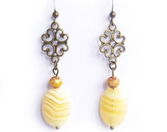 gemstone earrings filigree, soap stone, teen girl gifts, oriental earrings, gemstone soap, beige, sand color