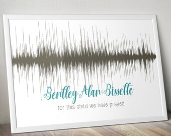 Baby Heartbeat Soundwave 8x10 Poster Nursery Baby Shower Gift