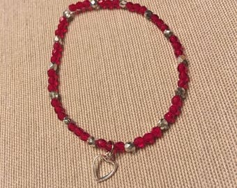 Red and Silver Valentines Bracelet