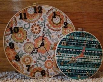 Handmade Embroidery Hoop Clocks