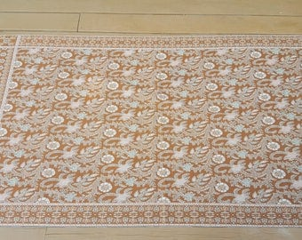 Vintage Brown and White Woven Tablecloth / Tapestry