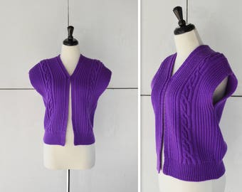 1970's Purple Vest Size Small | Vintage Knit Vest | 70's Women's Sweater Vest