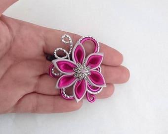 ribbed silver aluminium hair clip / fuchsia and flower