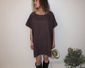 Linen Oversized plume linen tunic, Minimal Linen summer Top Blouse Dress Tunic Short Sleeves Stone washed Soft linen dress Pluss Size Large