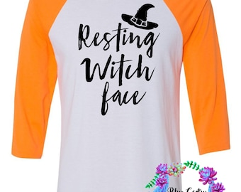 Funny halloween shirt- resting witch face - orange white black - halloween shirt - witch halloween shirts - adult funny halloween shirt