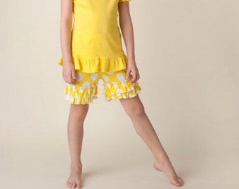 Yellow and white pok a dot ruffle shorts
